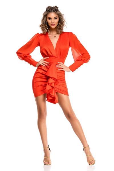 08b33e4611f4 9327 RO Μίνι φόρεμα με τέλεια εφαρμογή - Κόκκινο