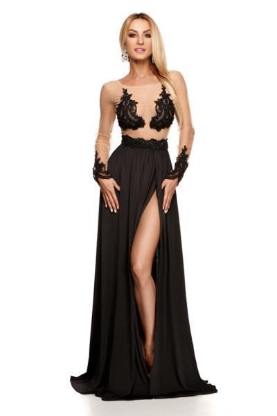 9222 RO Βραδινό μάξι φορεμα με διαφάνεια και κέντημα - Μαύρο b4f3e0cfcb4