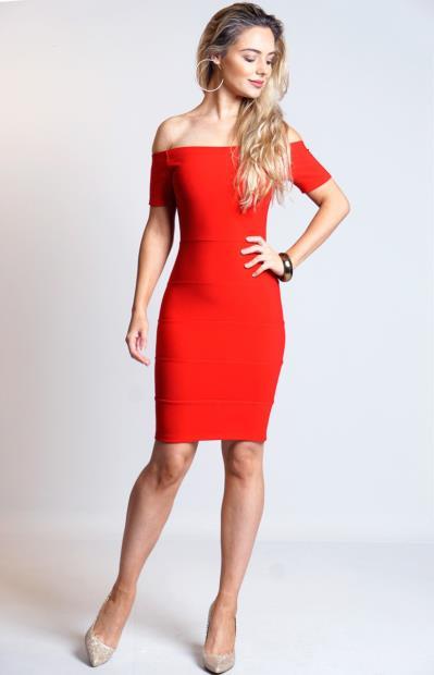 Φόρεμα bandage με ελεύθερους ώμους - Κόκκινο. Άμεσα διαθέσιμο. fashioneshop.gr  ... 6ad2d9bec4b