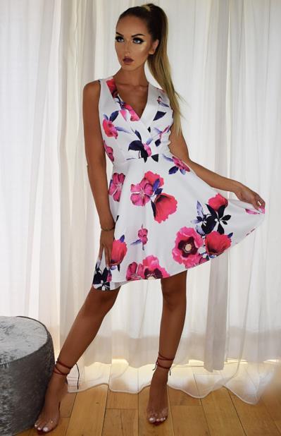 8a349e8a1721 Φόρεμα skater floral - Άσπρο