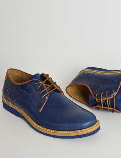 Ανδρικά δερμάτινα παπούτσια Nice Step μπλε δετά 785 5addd35ac06