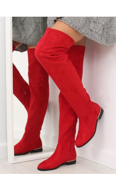 Μπότες flat πάνω απο το γόνατο - Κόκκινο 73d8d680867