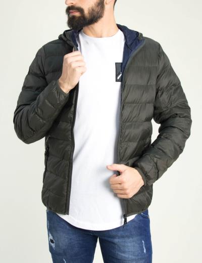 Ανδρικό χακί καπιτονέ Jacket εποχιακό με κουκούλα K18002 49078446b4c