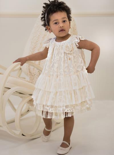 a0650293d88 Φόρεμα Βάπτισης Babybloom Από Δαντέλα Με Τουλινα Βολάν Κωδ:11980