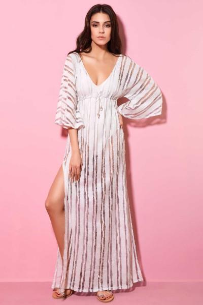 e63344307c98 Φόρεμα Παραλίας Μακρύ Δαντέλα Milena - Small-Medium