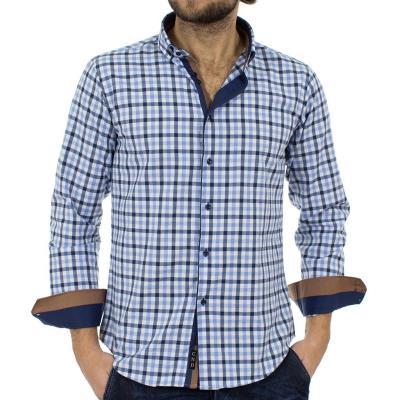 eb93b12196db Ανδρικό Καρό Μακρυμάνικο Πουκάμισο Slim Fit CND Shirts 2800-1 Μπλε