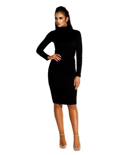 60041 DR Ελαστικό βισκόζ μίντι φόρεμα με ανοιχτή πλάτη - Μαύρο 832e0e2ca16