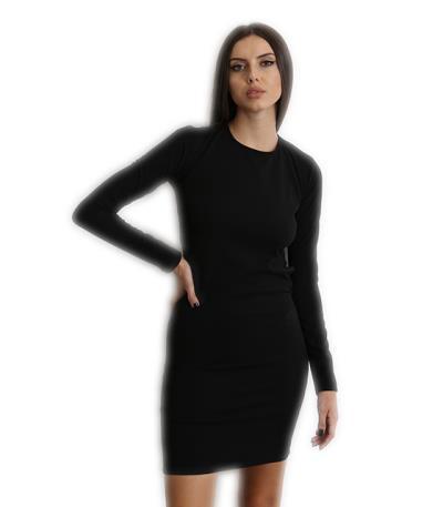 0e9f855a435d Έφαρμοστό μακρυμάνικο φόρεμα με ανοιχτή πλάτη Μαύρο