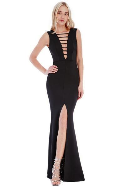 9179 GB Μάξι φόρεμα με σκίσιμο και βαθύ ντεκολτέ - μαύρο 6a5104a84b5