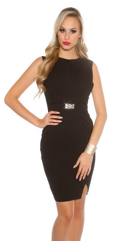 ed1a33a5fbec 41745 FS Μίνι φόρεμα με διακοσμητική ζώνη - Μαύρο