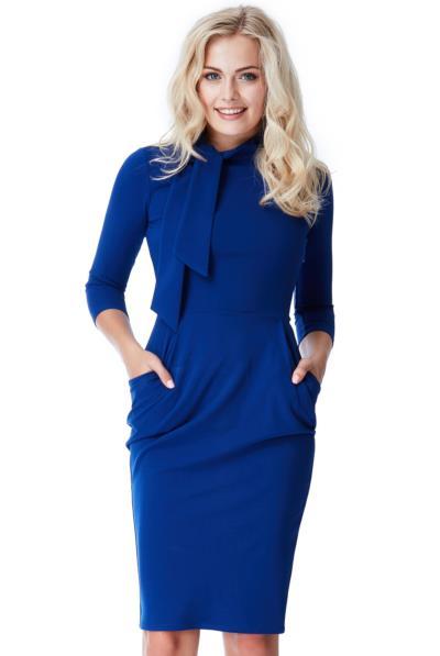 930c45b4fce0 Φόρεμα μίντι μακρυμάνικο με τσέπες και δέσιμο στο πάνω μέρος - Μπλε
