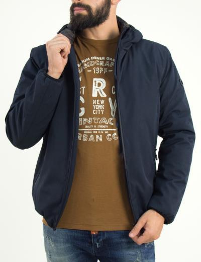 Ανδρικό μπλε Inox τεχνικό μπουφάν Jacket με κουκούλα 18656F 5b9c9780a9d