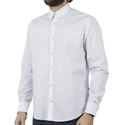 566286974ee6 Ανδρικό Μακρυμάνικο Πουκάμισο Comfort Fit DOUBLE DOUBLE GS-480 Λευκό