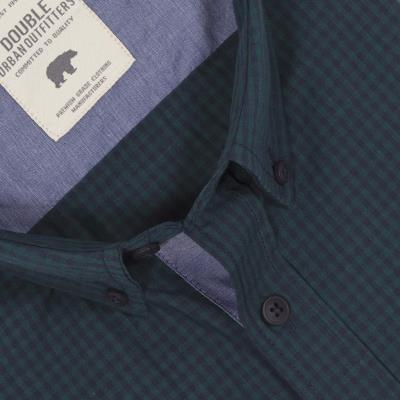 569af3761af3 Ανδρικό Καρό Μακρυμάνικο Πουκάμισο Regular Fit DOUBLE GS-456 Πράσινο