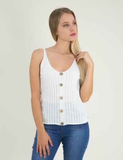 Γυναικείο λευκό μάλλινο τοπάκι ριπ με κουμπιά 5816W 763ed302496