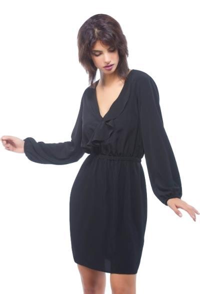 2496164492e3 Φόρεμα Κοντό Κρουάζέ Μονόχρωμο Μαύρο Freestyle