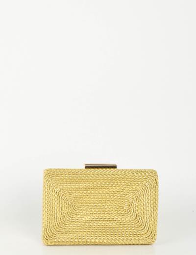 646eb73ee9 Γυναικείο χρυσό Hardcase Clutch πλεκτό σχέδιο JKB36