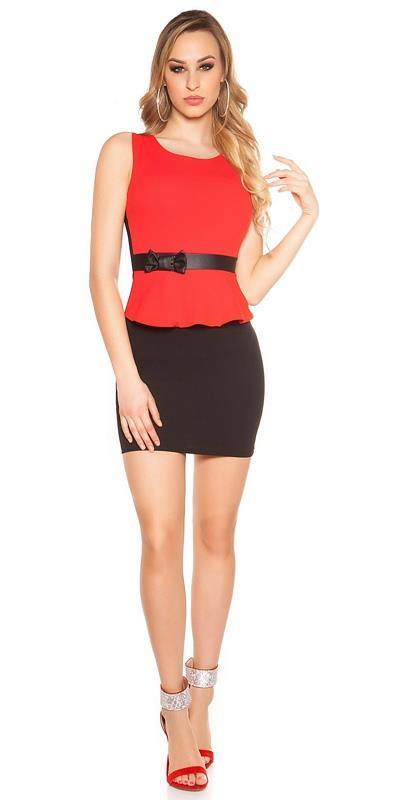 53cd139951bf 41845 FS Εφαρμοστό μίνι φόρεμα - κόκκινο μαύρο