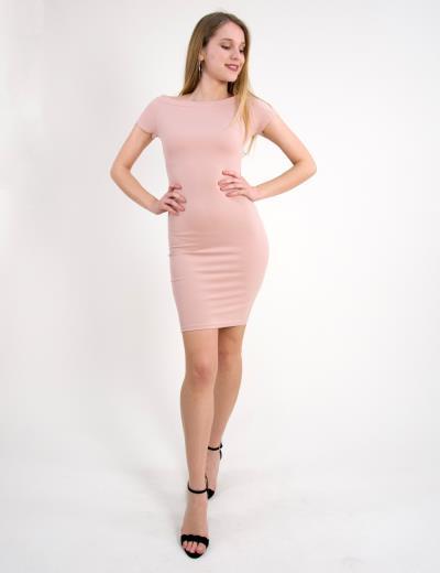 b0f180678d90 Γυναικείο Pencil φόρεμα κοντό μανίκι ροζ χαμόγελο 8157109C