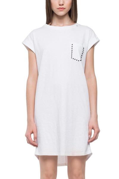 Replay jersey dress with studded chest pocket white - w9483-000-22336e-001 5cc0d3226d2