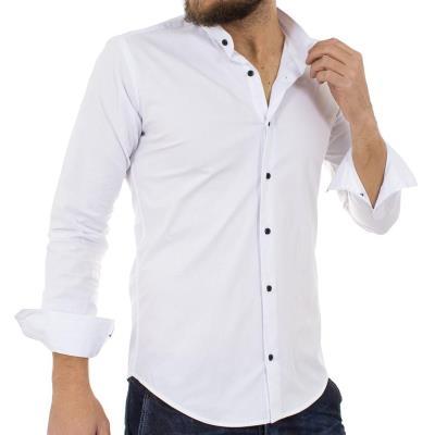 Ανδρικό Μάο Μακρυμάνικο Πουκάμισο Slim Fit ENDESON FASHION 1050 Λευκό a974abba6d1