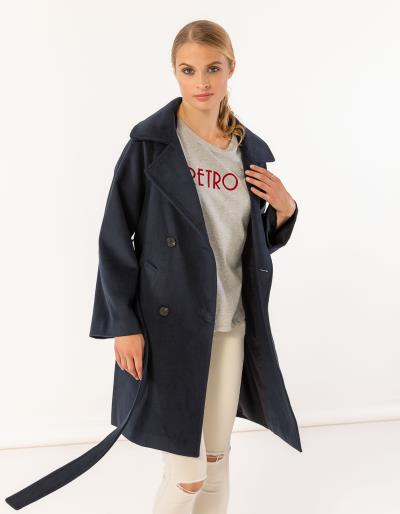 Παλτό σε άνετη γραμμή με μεγάλο πέτο και ζώνη στη μέση 1049c0fe9ca