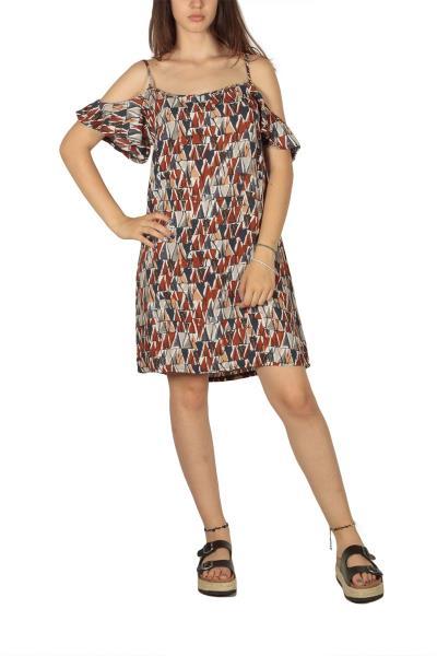 Τιραντέ φόρεμα εμπριμέ με βολάν μανίκια - et-12-0042 2b6d2f4e245