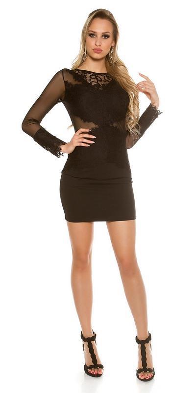 abff71aadb65 41771 FS Μίνι φόρεμα με διαφάνεια και δαντέλα - μαύρο
