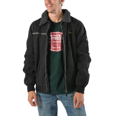Emerson Men s Jacket With Furon Collar 172.EM12.20 - CT BLACK d210d42ee82