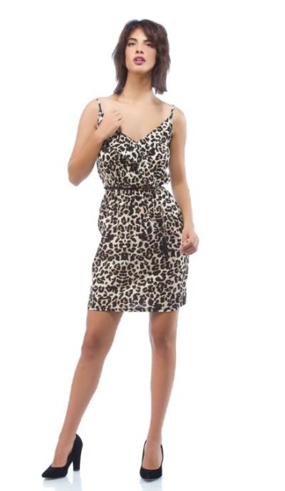 e6bb8c8a7986 Φόρεμα Mini Κρουαζέ Animal Print Μπεζ Freestyle