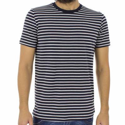 79b639b3ea1e Ανδρικό Ριγέ Κοντομάνικη Μπλούζα T-shirt Best Choice S18067 JUST Navy
