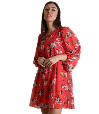 18d036d74ff7 Φόρεμα φλοράλ με κουμπί στο πίσω μέρος (Κόκκινο)