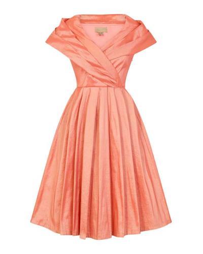 ca8505f18ce5 vintage φόρεμα chic taffeta 50s salmon ροζ