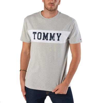 Tommy Hilfiger Panel Logo Men s Tee DM0DM04534-038 - LIGHT GREY HEATHER de395a42ab3