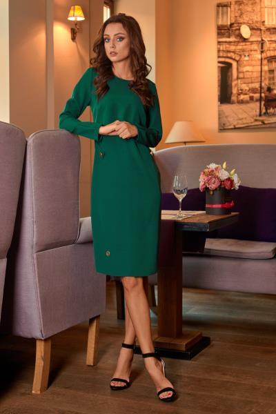 Φόρεμα μίντι μακρυμάνικο με κουμπιά στο πλάι - Πράσινο ae49e6d1bf2