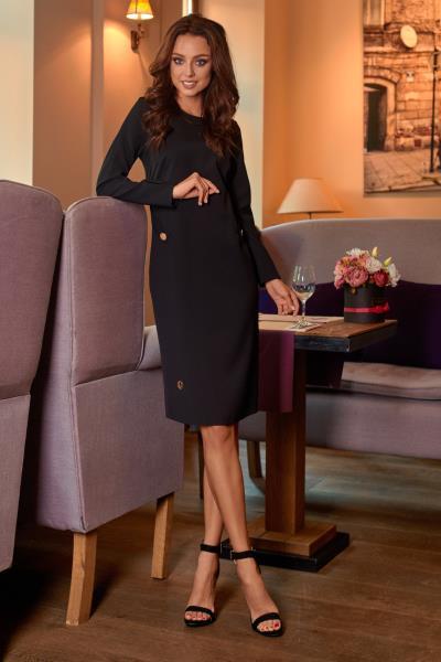 Φόρεμα μίντι μακρυμάνικο με κουμπιά στο πλάι - Μαύρο 2e373a512b4