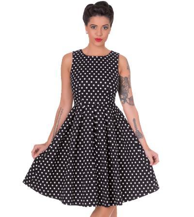 6652e65e475 vintage pin up 50s polka dot φόρεμα Lola σε μαύρο