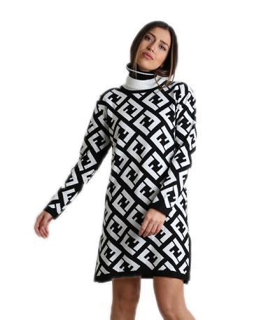 89a50e173148 Φόρεμα πλεκτό ζιβάγκο (Ασπρόμαυρο)