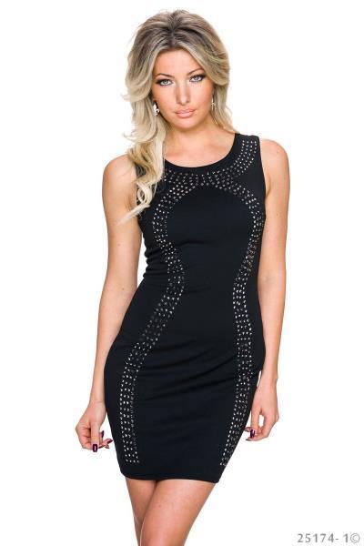 a232721397cd Αμάνικο μίνι φόρεμα με τρουκς - Μαύρο