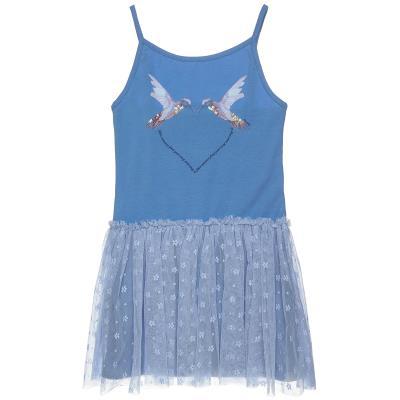 047d62906ae Φόρεμα με λεπτομέρεια παγιέτας και τούλι (6-12 ετών) 00941625 ΜΠΛΕ