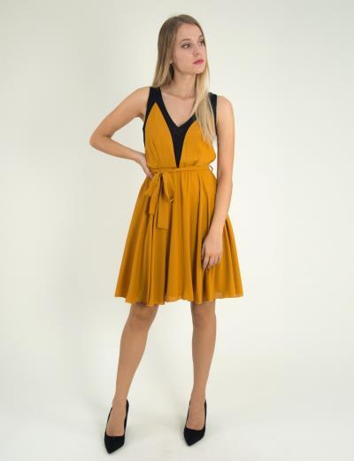 7ec9d2b5ad31 Γυναικείο ώχρα αμάνικο φόρεμα κλος τούλι 8317229G