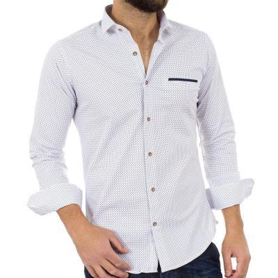 Ανδρικό Μακρυμάνικο Πουκάμισο Slim Fit ENDESON FASHION 3020 Λευκό 96a71384692