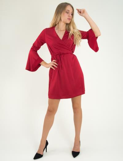 f1a4e0a995ff Γυναικείο φόρεμα ντραπέ με καμπάνα στο μανίκι κόκκινο 8112199
