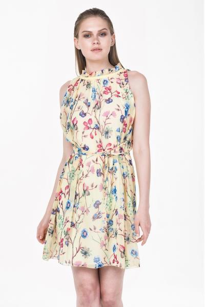 cdbc4941b166 Φόρεμα Α σούρες λαιμού chiffon floral - 18168