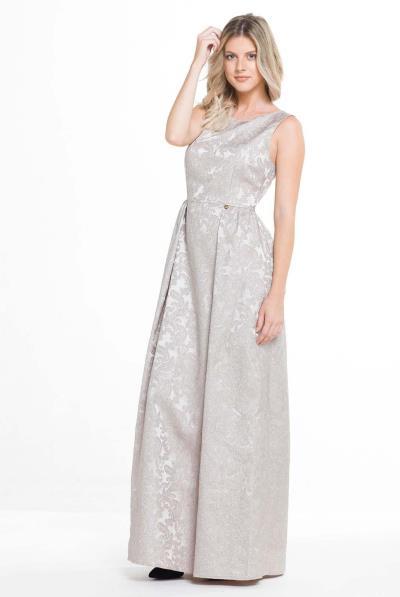 85cb8b5588a7 Φόρεμα μακρύ μπροκάρ αμάνικο - 17532