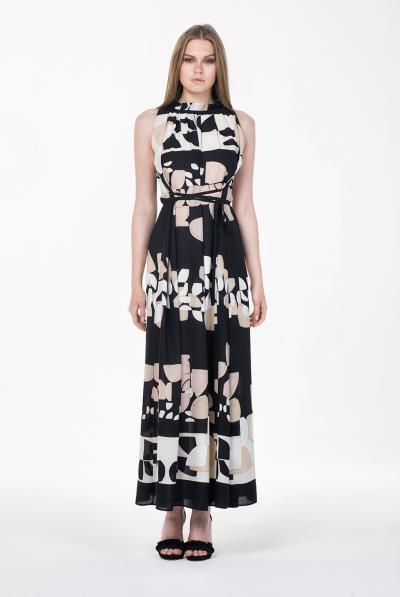 ab173d26f65c Φόρεμα μάξι Α κρεπ εμπριμέ - 18169