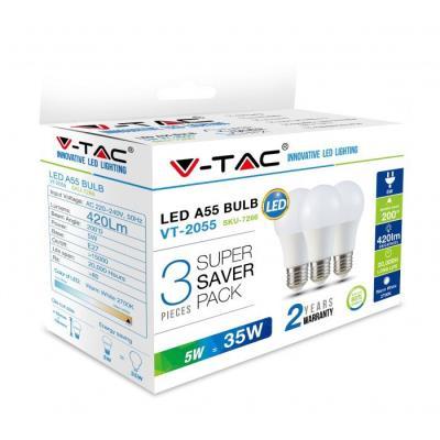 3PCS PACK ΛΑΜΠΕΣ LED E27 5W A60 ΘΕΡΜΟ ΛΕΥΚΟ V-TAC SKU  7266 a35fa15ba41