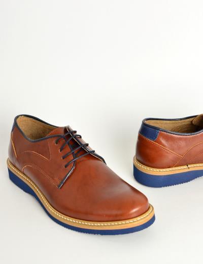 16a8f7a445c Ανδρικά δερμάτινα παπούτσια Nice Step ταμπά δετά 785G