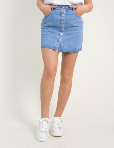 1f1aa7c8d975 Γυναικεία μπλε χλώριο τζιν φούστα κουμπιά ITA948C
