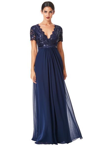 9449922ab436 shinny paillete top αέρινο μπλε navy φόρεμα Daphne